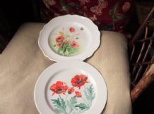 2 X HANDPAINTED DISPLAY PLATES 1= DEVON 1= HARVEST MICE & POPPIES KATHY DOBLE